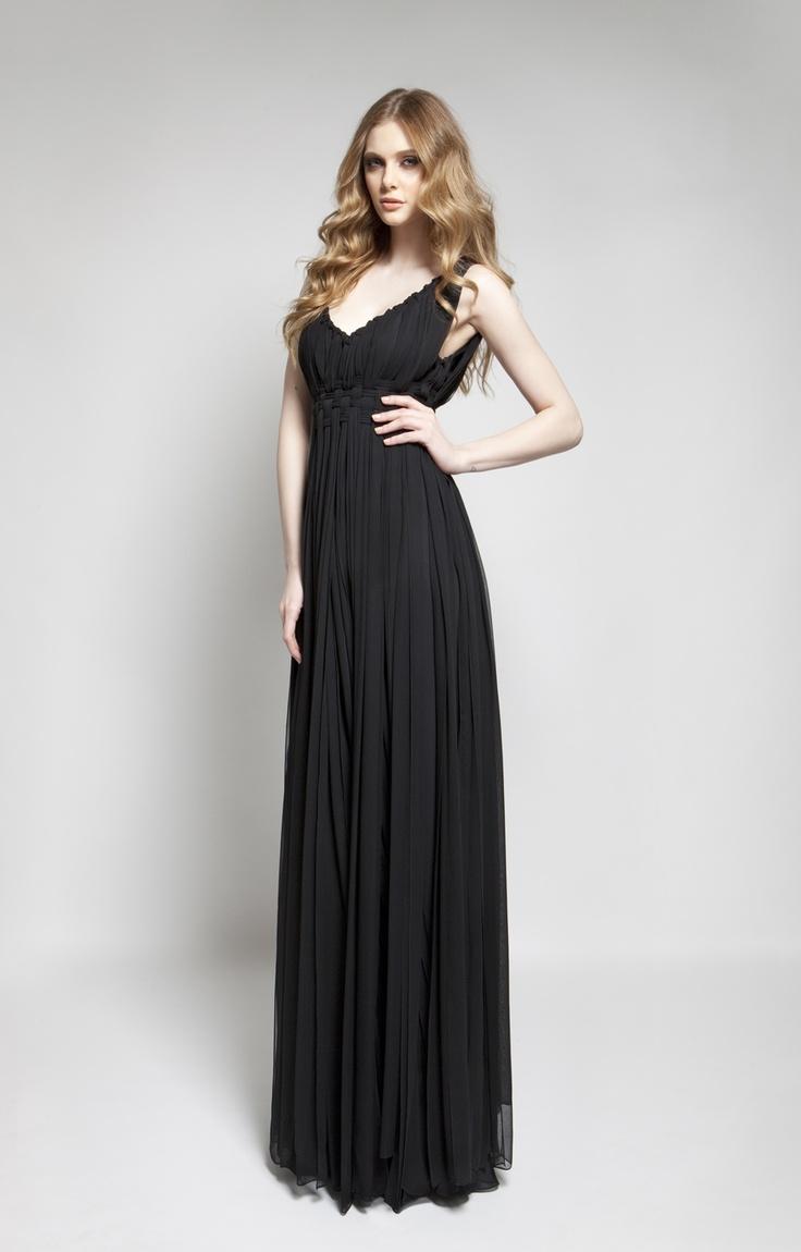 CHRISTOS COSTARELLOS AW 12-13 Silk Chiffon Knotted Maxi Dress