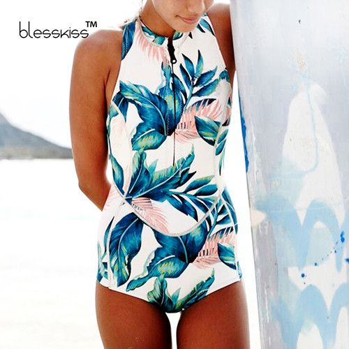 Print Floral One Piece Swimsuit Long Sleeve Swimwear Women Bathing Suit Retro Swimsuit Vintage One-piece Surfing Swim Suits