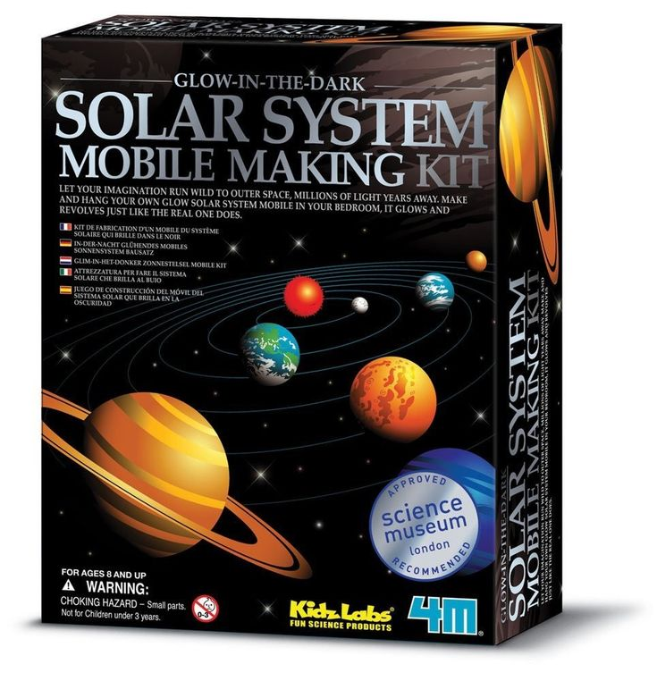 "Solar System Mobile Model Making Kit 4M® Kidz Labs® Glows in the Dark Approved and Recommended by the Science Museum of London! A great economical kit for science projects Build your own 16 1/2"" x 16"