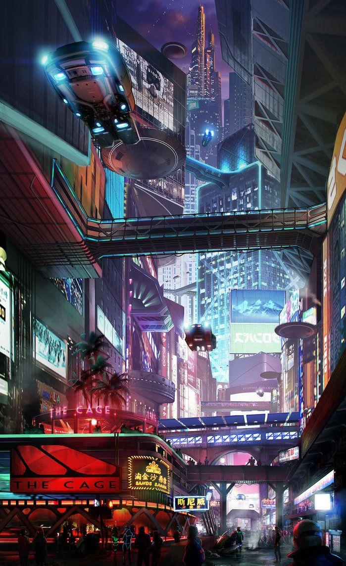 Cityscape 3 by *Hazzard65, cyberpunk, future city, cyber city, flying car, futuristic city