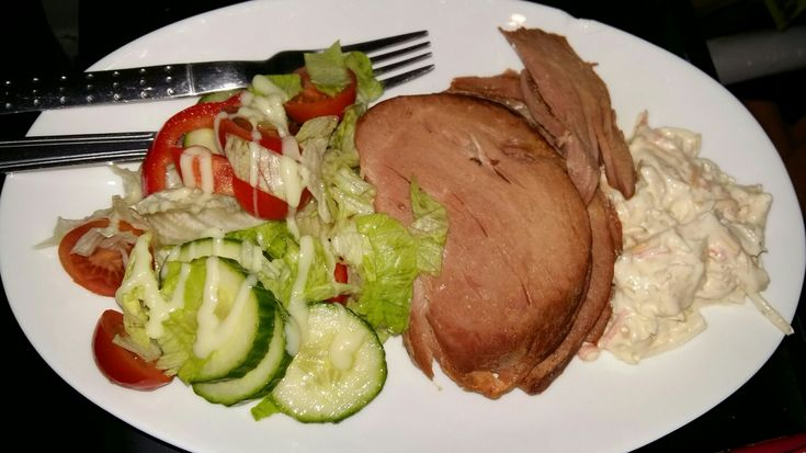 Slow cooked gammon, in apple juice, with coleslaw and salad