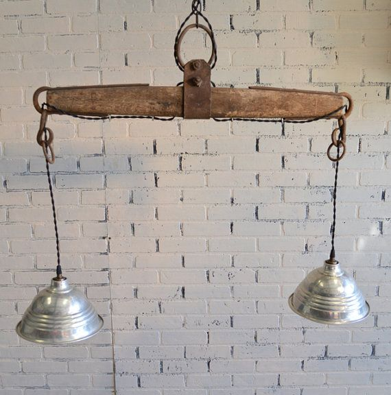 Repurposed Yoke Hanging Light Country Home Ranch House Chic Cabin Lighting Awesome