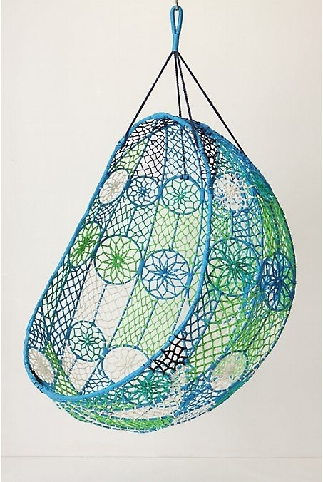 Knotted Melati Hanging Chair, Blue Motif   Eclectic   Chairs   By  Anthropologie