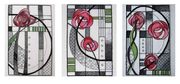 Mackintosh Rose Triptych – The Bluebird Embroidery Company