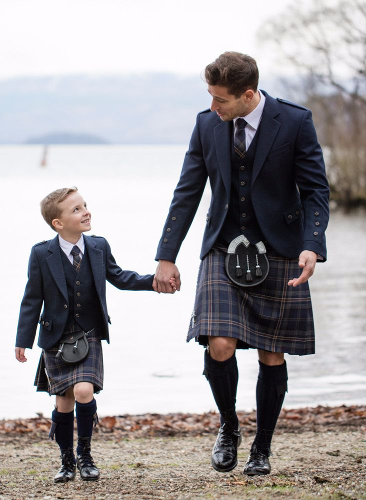 Our exclusive Arran Tweed tartan is one of our best-sellers. The gorgeous Navy tones work perfectly with any wedding colour scheme. Available for children too!