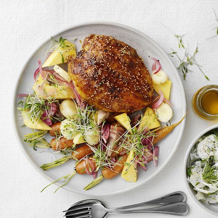 Majskyllinge+bryststeg+med+bagte+rodfrugter+og+fennikel+slaw