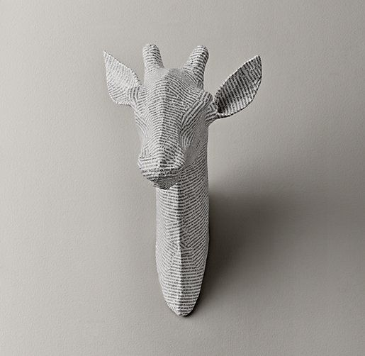 Papier-Mâché Giraffe Head from Restoration Hardware. Love these to go along with the safari mural for a nursery. Also available: zebra, elephant, antelope and stag. Very cute framed too!