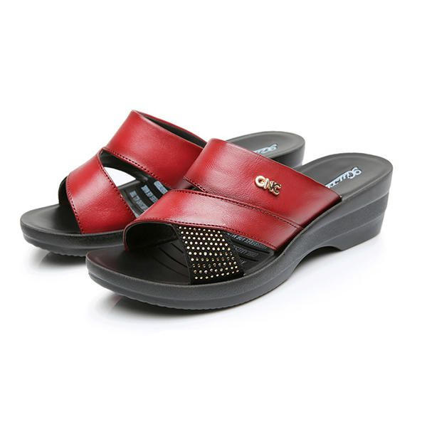 2574351a2a5 US Size 5-10 Women Summer Wedge Sandals Outdoor Soft Comfortable Leather Slipper  Shoes