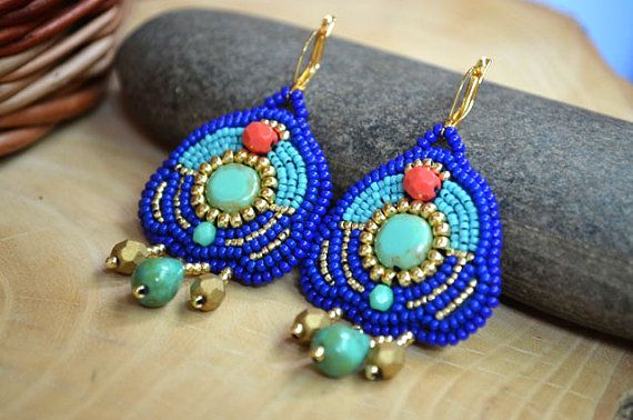 Bead embroidered earrings Beadwork multicolored earrings Turquoise Coral Seed bead earrings Bead embroidery jewelry Gift Egyptian earrings