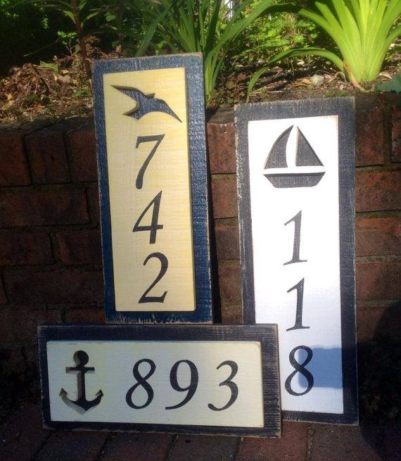 House Number Address Sign Beach Lake House Nautical by CastawaysHall - 3 Numbers Digits An original from CastawaysHall. A great way to show your