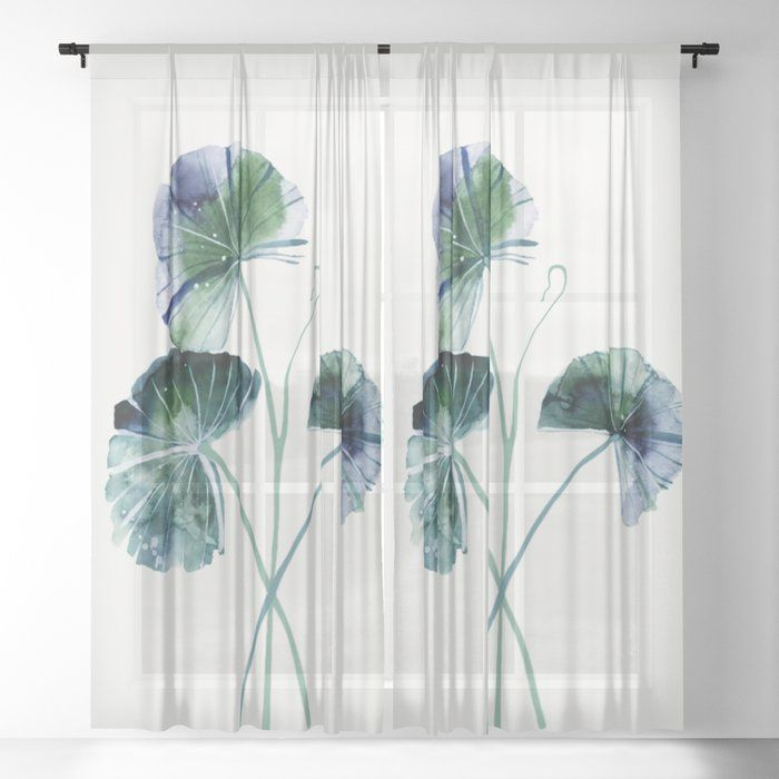 Water Lily Leaves Sheer Window Curtains Dormroomdecor Curtains