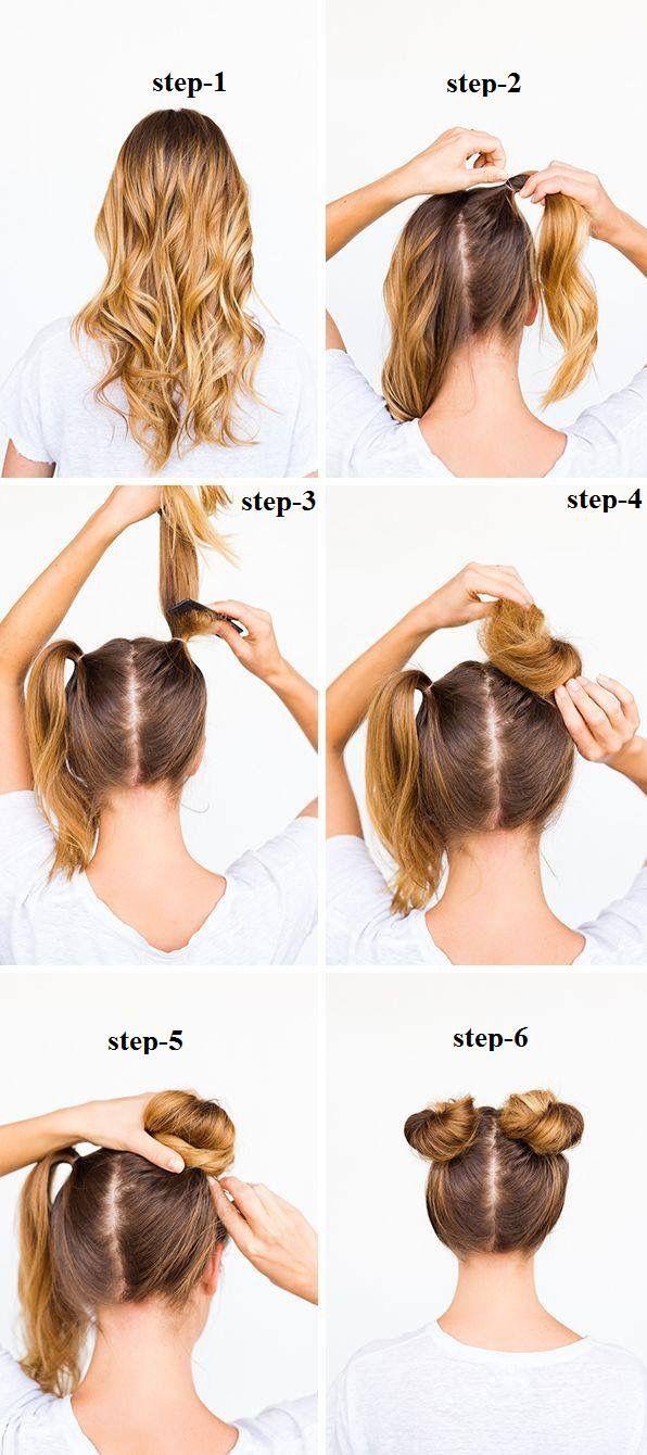 Cute space bun hairstyle  Hair bun tutorial, Long curly hair, Bun