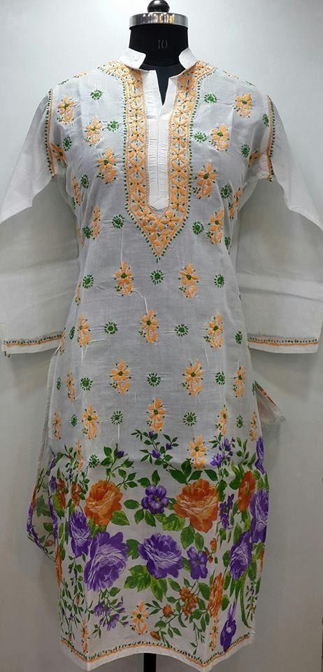 Lucknow Chikan Online Kurti White Printed Cotton $28