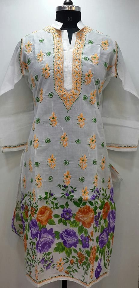 Lucknow Chikan Online Kurti White Printed Cotton $28