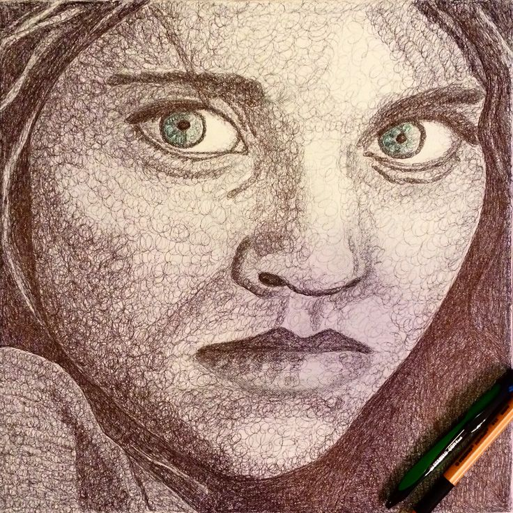 Afghan girl  Ink on canvas  40x40