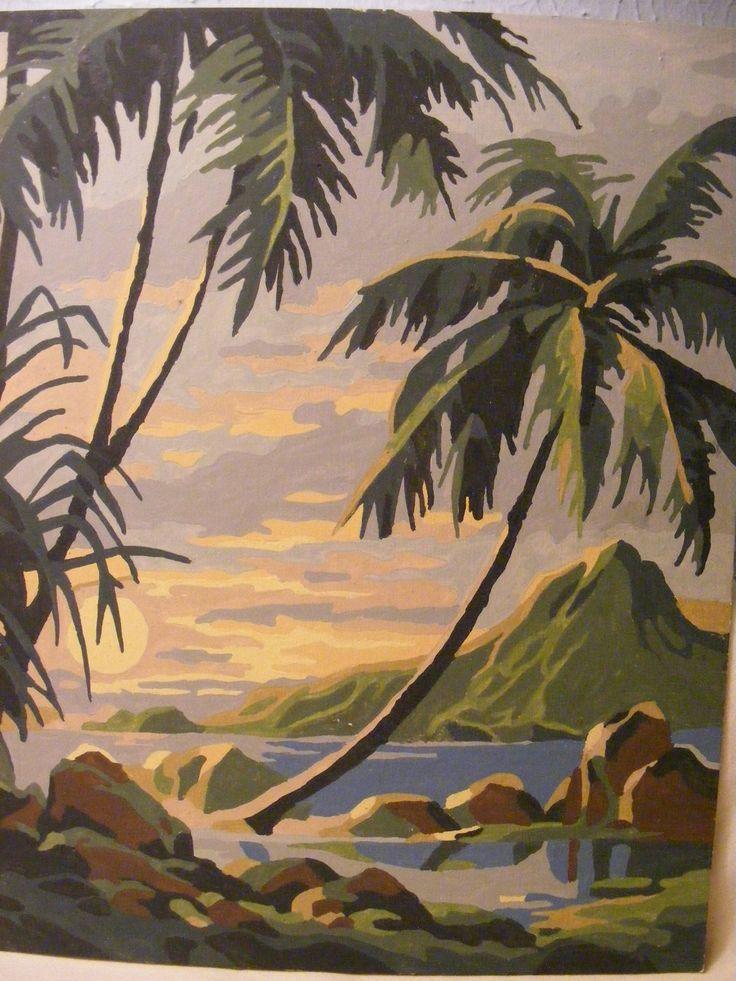 Vintage Pair of Paint by Number Tropical Palms Sea par Newfriend
