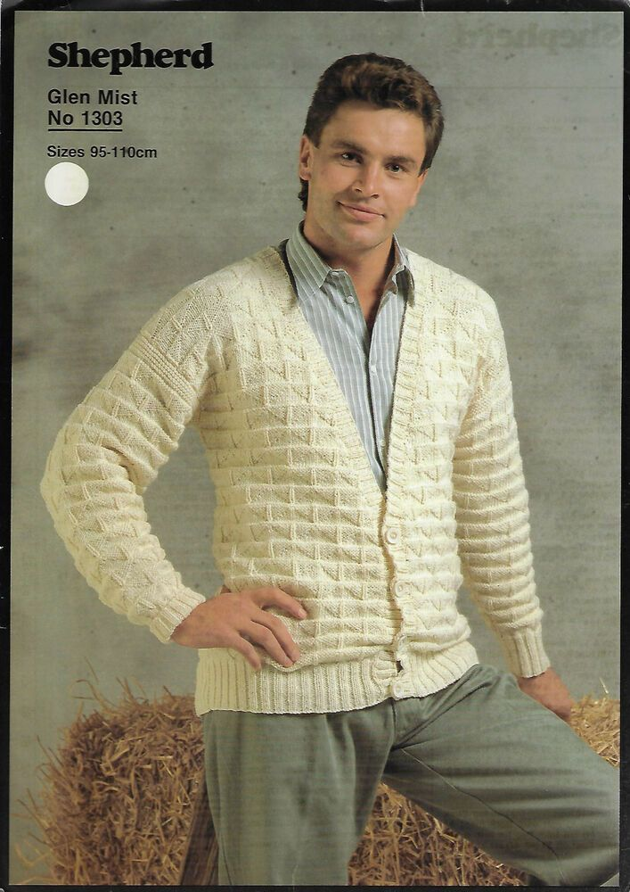 afb44b284 Details about Men s Textured Cardigan Shepherd 1303 knitting pattern ...