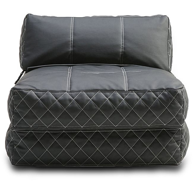 Recreate the fun of childhood with a new, up-to-date look with this black bean bag chair. The same comfortable bean bag you remember can now switch between a chair and a bed. Sleek leatherette covering is highlighted with white detailed stitching.