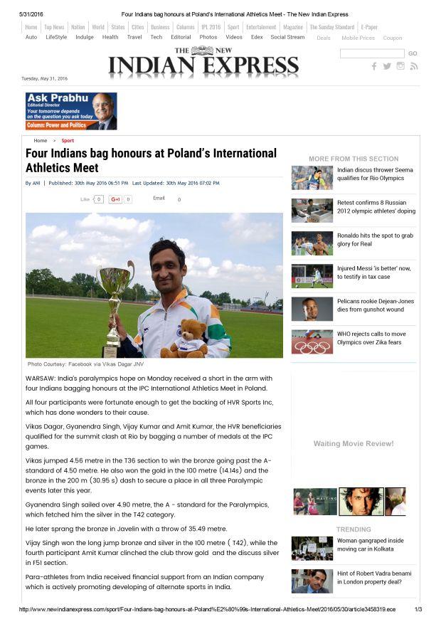 Four Indians Bag Honours at Poland's International Athletics Meet