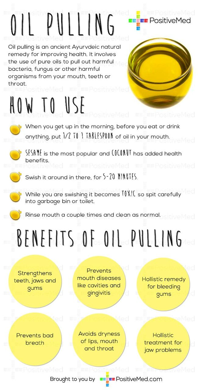 Oil Pulling - To oil pull, simply swish your choice of unrefined, high quality oil in your mouth; similar to the way you would use a mouthwash. My favorite is coconut oil. This can be done anywhere from five to 20 minutes. The process attracts and removes bacteria, toxins, and parasites that live in your mouth or lymph system, and also pulls congestion and mucus from your throat and loosens up your sinuses.