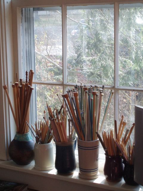Awesome Knitting Needles (and Some Crochet Hooks) Displayed In Various Stoneware  Vessels