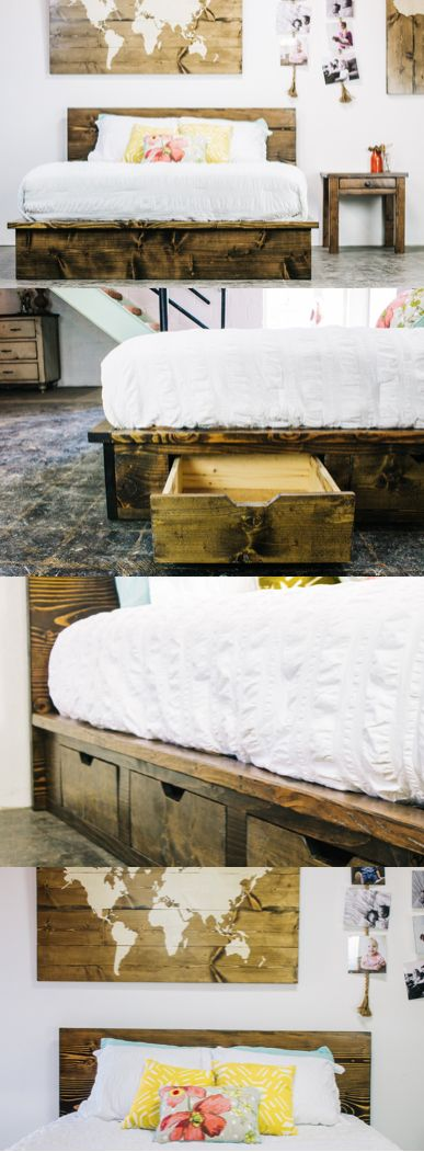 Wide planks, rich in character, give this striking platform bed the perfect balance of modern design and simple charm. It can be made with or without the undercarriage drawers. Lake house sold separately.