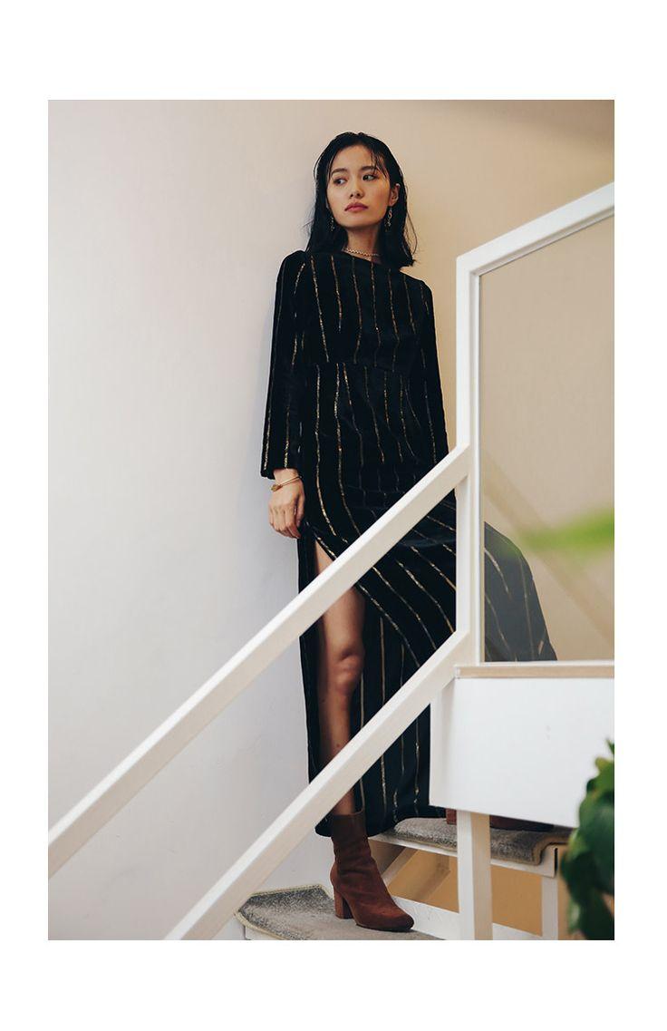 SINCE THEN black velvet striped evening dress7