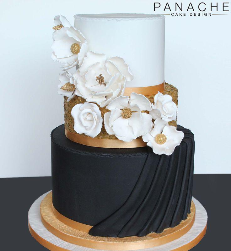 contemporary wedding cake wedding cakes London monochrome black gold white sugar flowers handmade sequins draping elegant engagement