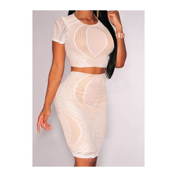 RoseWe Two Piece Beige Crop Top and Bodycon Skirt ($31) ❤ liked on Polyvore featuring beige y bodycon two piece