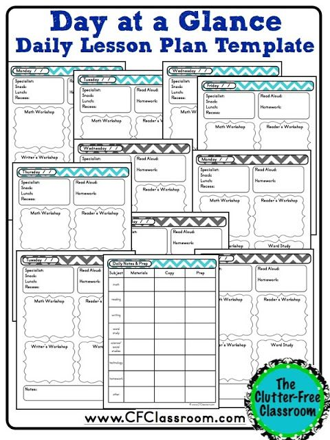 Clutter-Free Classroom: Day at a Glance Daily Lesson Planning {Lesson Plan Template, Teacher Binder}