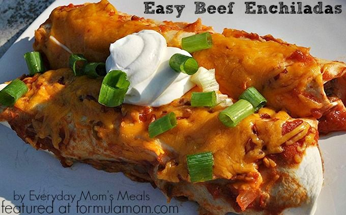 Easy Beef Enchiladas Recipe..maybe add some taco spices to meat mixture and some black Oliver to top
