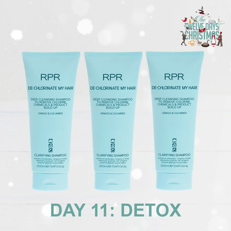 DAY 11: DETOX. The summer months means more time in the pool. Give the perfect pool side Christmas gift your hair will love with our RPR De-chlorinate My Hair shampoo. A dip in the pool no longer means green hair tones or chlorine smelling hair.