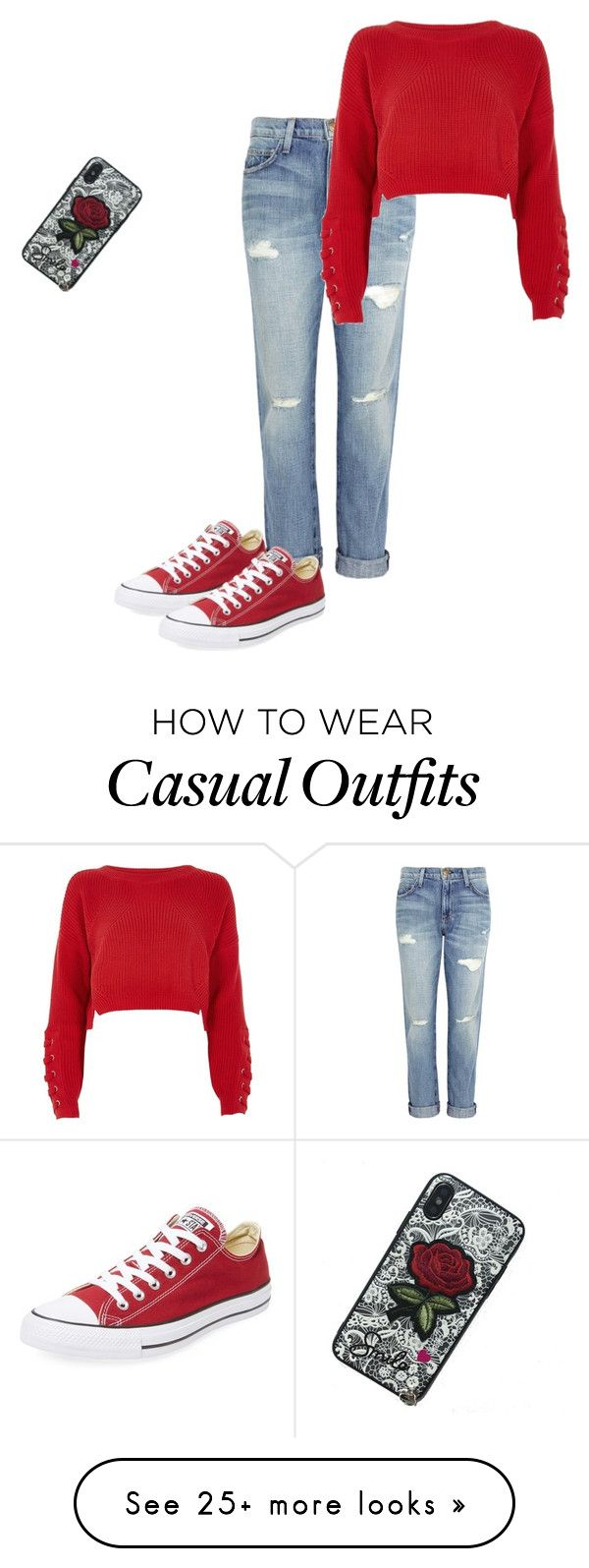 """""""casual"""" by nielaplatts on Polyvore featuring Current/Elliott, River Island and Converse"""