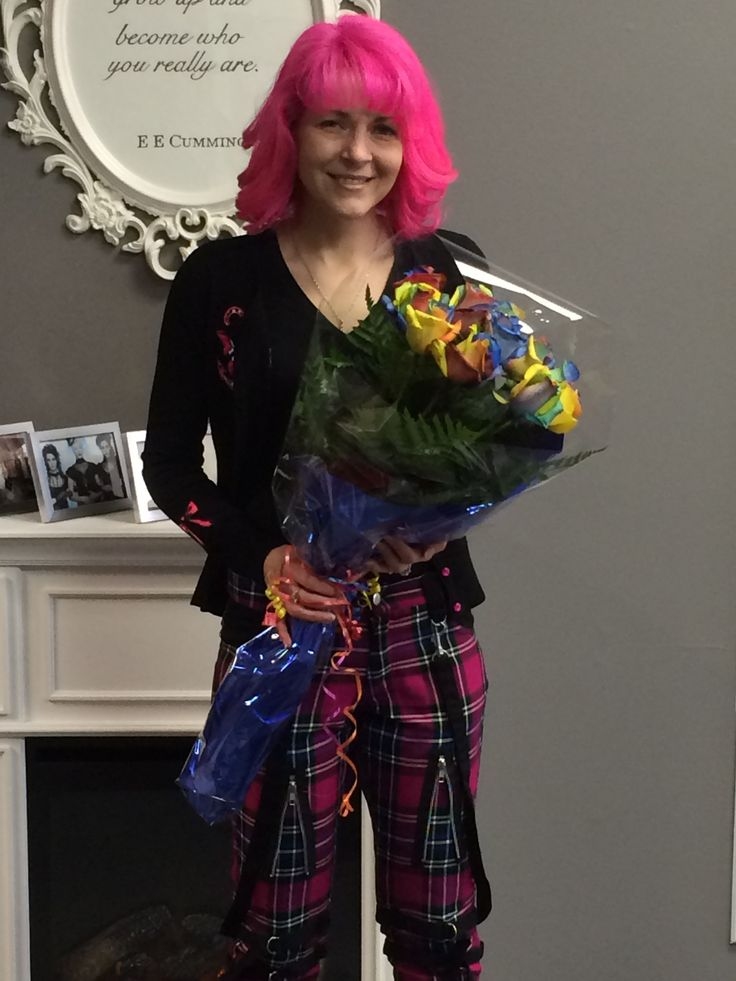 Early Valentines Gifts!  Nothing is better than Rainbow Roses, to finish off Bondage trousers and Pink Hair!