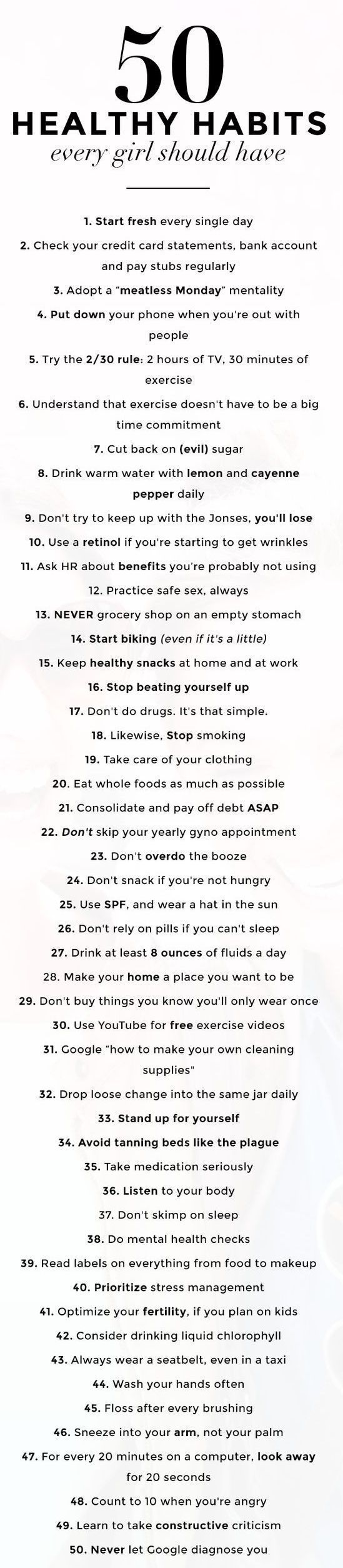 50 Healthy Habits (every girl should have) - Wallpaper & Scissors