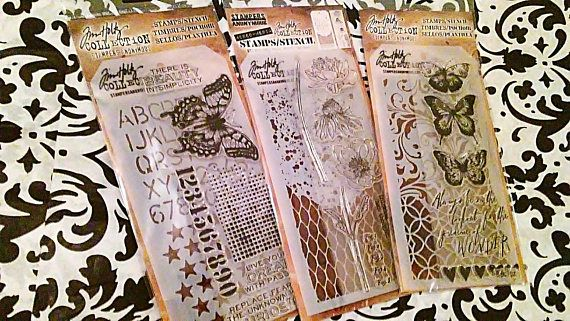 Set of 3 Stamp/Stencil Sets by Tim Holtz Stampers Anonymous