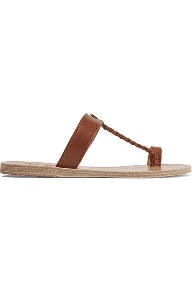 Ancient Greek Sandals - Melpomeni Braided Leather Sandals - Brown - IT36