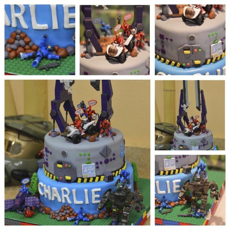 Halo mega blocks cake birthday ideas
