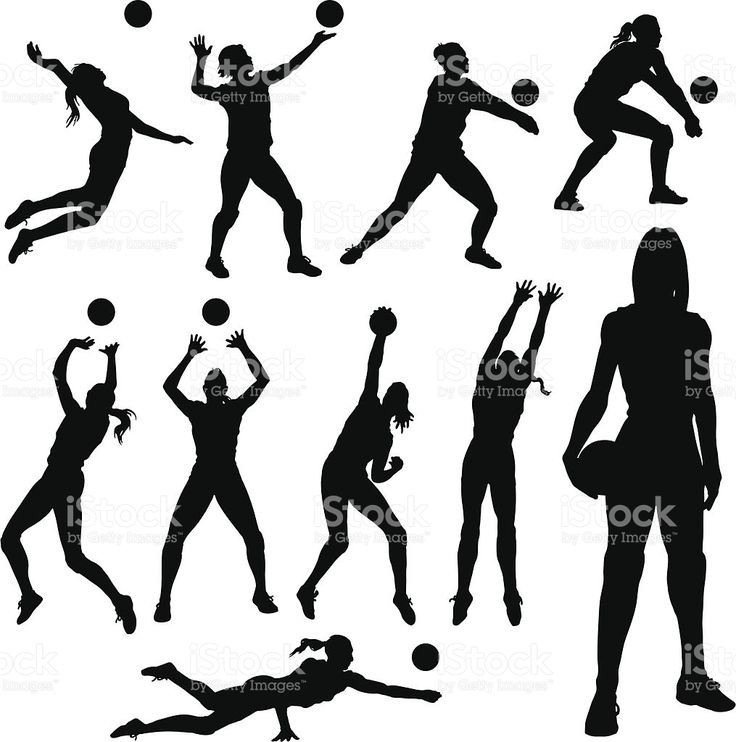 Silhouettes de volley-ball stock vecteur libres de droits libre de droits