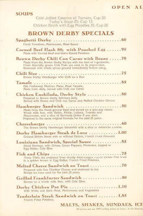 The Brown Derby menu, Hollywood, 1952.