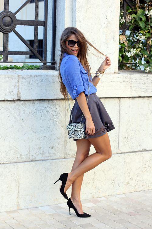 skater skirt w/eyelet hemline + denim shirt