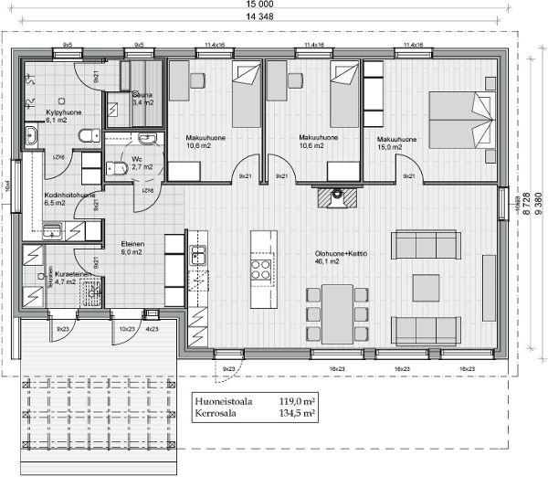 Kreivi-talo, Kokkola - Helga 119, kiva eteis+ sauna+ khh, muutenkin huoneet ok, mutta yksi huone puuttuu..