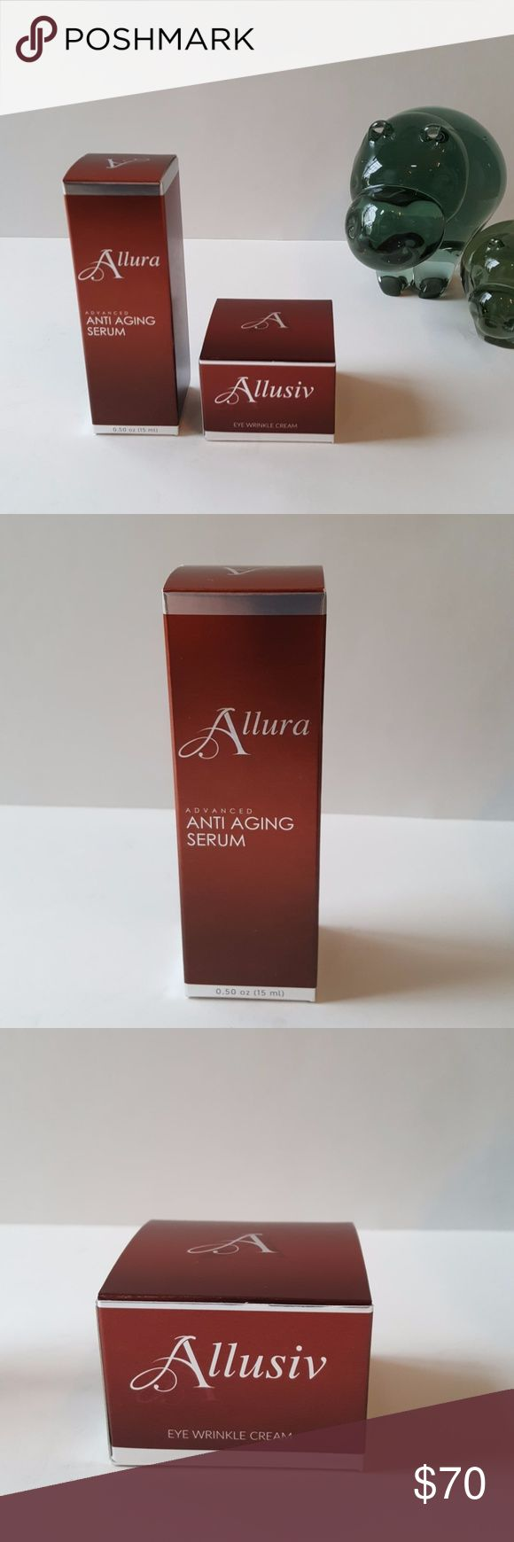 NWT Allura Anti Ageing Serum & Eye Wrinkle Cream Revolutionary Skin Care - Allura Advanced Anti Ageing Serum 0.50 oz (15ml) & Allusiv Eye Wrinkle Cream 0.50 oz (15ml) Reduces Fines Lines & Wrinkles Makes Skin Look Younger Skin Glows With Youthfulness  Diminishes Dark Circles Permanent Effects 100% Natural Made In The USA NWT Sealed - Would Make An Excellent Christmas Gift Allura Makeup