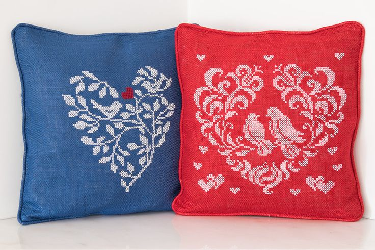 Decorative Handmade Burlap Pillow Cover, Gift Pillow, Cross-stitch Burlap Pillow, Mother's Day Gift, Heart and Bird Design Pillow Cover by TheSilknCotton on Etsy