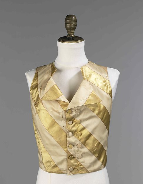 Waistcoat, 1800-1810, American or European, Made of silk and linen