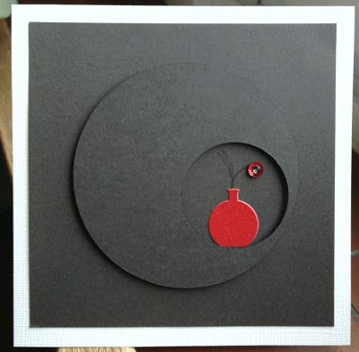 handmade card ... offset circle frame ... mostly black with a spot of red ... great mod look .. graphic and geometric ...