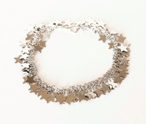 Seeing Stars  Silver Star Charm Bracelet Silver by dreamsbythesea, $62.00