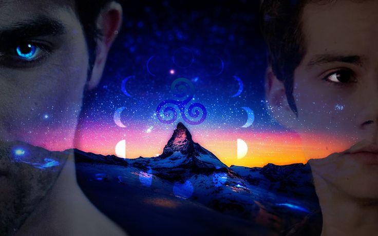 Teen wolf. Lunar cycle. Wallpaper Derek Hale. Tattoo. Stiles Stilinski. Werewolf. Human. Blue eyes. Brown Eyes. <3
