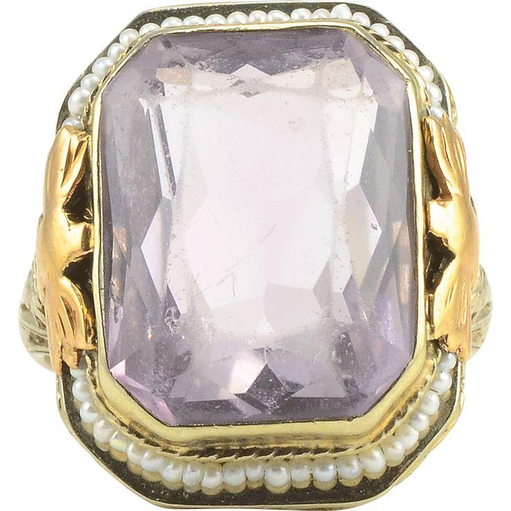 Amethyst and Seed Pearl Ring www.rubylane.com #vintagebeginshere