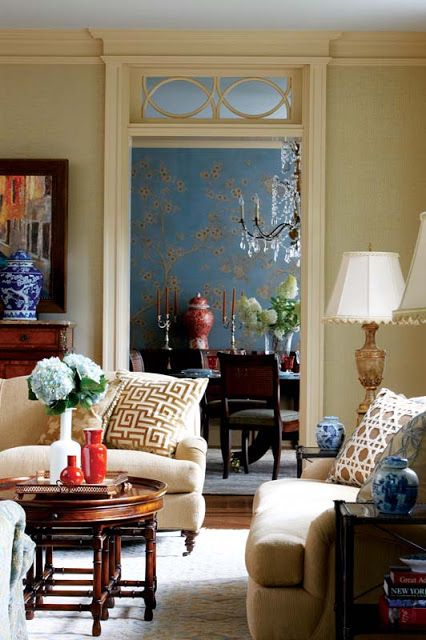 cindy rinfret traditional living room--neutral with red and blue accents, greek key, cane pattern, transom detail